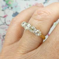 Vintage 18ct Old Mine Cut Diamond Five Stone Ring 1.35ct (6 of 10)