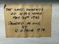 "Large Seascape Oil Painting WW2 Battle ""HMS Battleship Hood The Last Moments"" (10 of 12)"