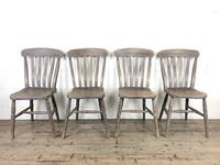 Set of 4 Antique Ash & Elm Farmhouse Chairs