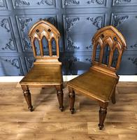 Pair of Victorian Gothic Style Hall Chairs (6 of 13)