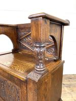 Early 20th Century Antique Carved Oak Hall Seat (11 of 13)