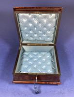 Victorian  French Burr Cedar Jewellery Box with ebonised fruitwood and original interior (8 of 13)