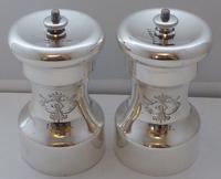 Victorian 1886 Solid Hallmarked Silver Cruet Set Salt & Pepper Grinders Mills (2 of 10)