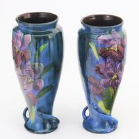 Torquay Pottery Tall Pair of Faience Vases by Lemon & Crute c1920 (5 of 9)