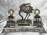 Antique Victorian Silver Plate Crane Bird Inkwell Stand After James Deakin (35 of 37)