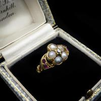 Antique Pearl Ruby & Diamond Cluster 18ct Gold Ring (2 of 9)