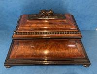 Victorian Burr Cedar & Ebony Shaped Tea Caddy (3 of 20)