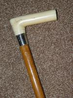 Antique Hallmarked 1923 Silver Walking Cane With Malacca Shaft 'LHB' (8 of 13)