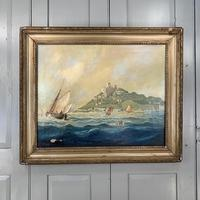 Antique French marine seascape oil painting of Mont St Michel signed Shimmin (3 of 10)