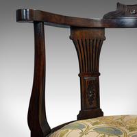 Antique Corner Armchair, French, Beech, Seat, Art Nouveau, Victorian c 1890 (10 of 12)