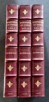 1845 1st Edition Set.  The Mysteries of Paris by Eugene Sue Complete in 3 Volumes Bound in Fine Leather Bindings