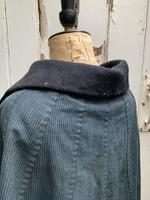 Antique French handmade indigo blue striped linen cape or cloak with black wool collar one size (4 of 10)