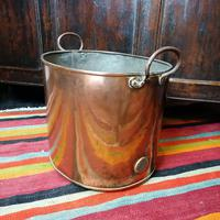 Antique Copper Coal Bucket of Oval Form with Handles (7 of 7)