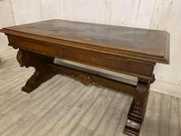 Large Victorian Green Man Library Desk (3 of 6)