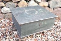 Scandinavian / Swedish 'Folk Art' original paint green/blue large table/alms/bible box raised on feet 1852 (25 of 36)