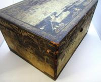 Rare Antique Chinese Lacquered Giltwood Large Tea Caddy Chest / Box / Casket with Pewter Liner c.1800 (8 of 16)