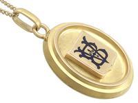 Blue Enamel & 18ct Yellow Gold Locket - Antique Victorian (3 of 9)