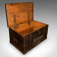Antique Steamer Trunk, English, Pine, Iron, Carriage Chest, Victorian c.1860 (9 of 12)