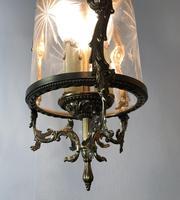 Vintage French Gilt Bronze Three Light Hall Lantern Pendant (5 of 12)