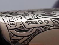 Victorian Walking Stick Cane 1899 9ct Gold Amethyst Pommel Ebony Shaft (6 of 9)