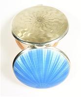 Beautiful Blue Guilloche Enamel Compact Mirror (2 of 9)