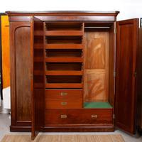 Wardrobe Triple Compactum Wardrobe Victorian Mahogany (3 of 12)