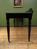 Antique Black Ebonized Console Table with Drawers & Moustache Back (10 of 22)