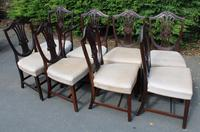 1900's Quality Set of 8 Mahogany Wheatcheaf Chairs - 7 + 1 Carver - Pop-out Seats (2 of 3)
