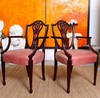 6 Dining Chairs Hepplewhite Mahogany Leather 19th Century (2 of 15)