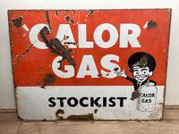 Vintage Original English 1950's Enamel Advertising Sign Calor Gas Stockist (12 of 22)