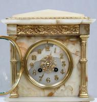 French Neoclassical Alabaster & Bronze Gilt Mantel Clock (2 of 7)