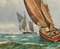 Att: William Boyce 19th Century Sailing Smack Seascape Watercolour Painting (6 of 11)