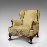 Antique Wing-Back Armchair, English, Lounge, Fireside, Seat, Edwardian c.1910 (7 of 12)
