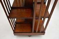 Antique Inlaid Walnut Revolving Bookcase (6 of 6)