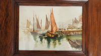 Pair of Early 20th Century Watercolours, Coastal Scene with Boats F&G, inits (8 of 10)