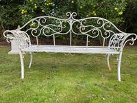 Large French Art Deco Style Fleur De Lis Garden Double Bowed  Curved Bench Seats 3 (32 of 37)