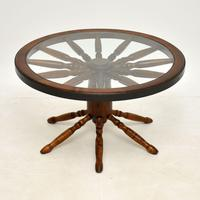 Vintage Glass Top Wagon Wheel Coffee Table (2 of 6)