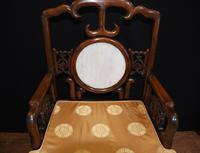 Pair Antique Chinese Armchairs Hardwood 19th Century Seat Chair (6 of 13)