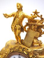 Superb Timepiece Mantle Clock -  Antique 8 Day French Poet Figural Ormolu Mantel Clock (3 of 11)