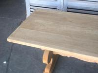 Large French Bleached Oak Trestle Farmhouse Dining Table (11 of 14)