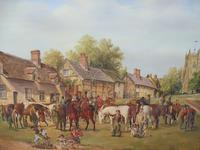 Oil on Board 'a hunting we do go' Artist R M Crompton 1930s (10 of 10)