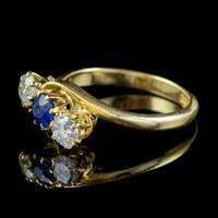 Antique Edwardian Sapphire Diamond Trilogy Twist Ring 18ct Gold Circa 1905 (4 of 8)