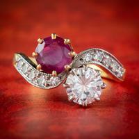 Antique Edwardian French 0.90ct Ruby & Diamond Twist Ring Platinum 18ct Gold c.1901