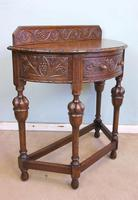 Antique Jacobean Style Carved Oak Demi Lune Side Table (2 of 8)