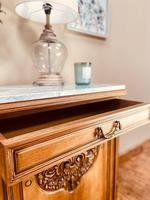 French Antique Sideboard / Walnut Buffet / Marble Cupboard (7 of 10)