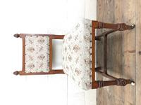 Pair of Antique Victorian Gothic Oak Chairs with Floral Upholstery (6 of 10)