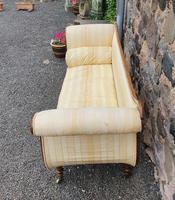 Large Regency Brass Inlaid Scroll End Sofa (6 of 9)