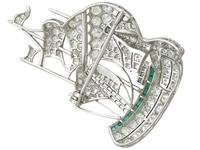 2.65ct Diamond & 0.28ct Emerald, Platinum Ship Brooch - Antique c.1910 (7 of 10)