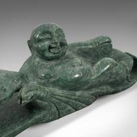 Antique Ruyi Belt Hook, Oriental, Jade Marble, Buckle, Hotei, Budai c.1900 (6 of 12)