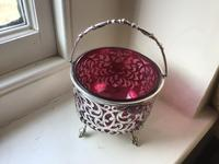 Excellent Solid Silver & Ruby Glass Bowl